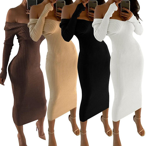Winter Solid Color Women Long Sleeve Low Cut V-Neck Knitted Bodycon Maxi Dress