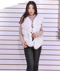 Sleeveless Faux Fox Fur Vest Coat