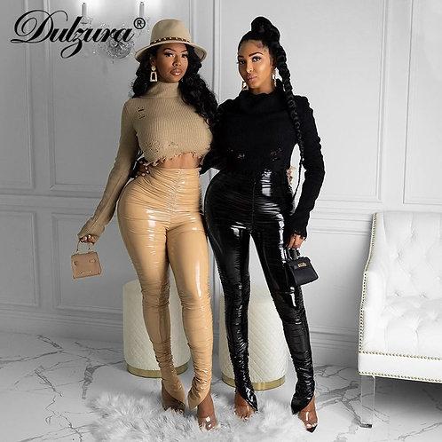 Dulzura Pu Women Stacked Leather Pants