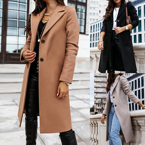 Women Fall/ Winter Casual Vintage Long Trench Coat