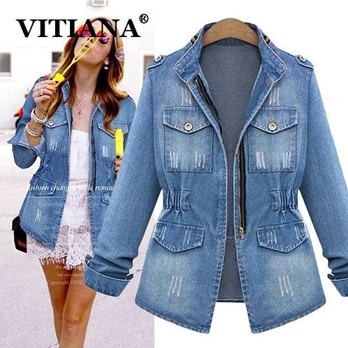 VITIANA Women Fashion Denim Jacket