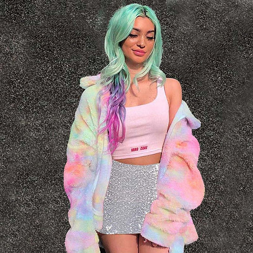 Fashion Winter Rainbow Color Faux Fur Female Jacket and Sets