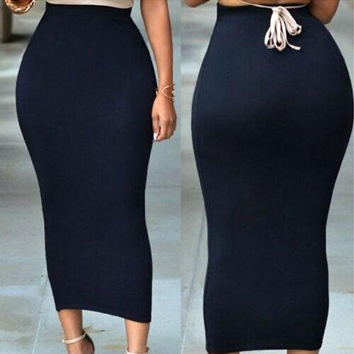 Thick High Waist Slim Skirt Women Bodycon Casual Stretch Long Maxi Pencil Skirt