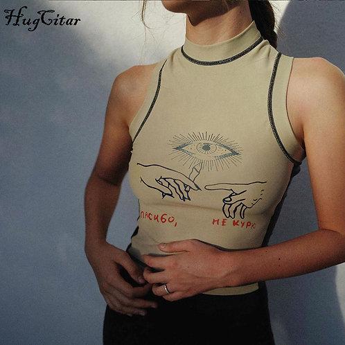 Hugcitar 2020 Sleeveless Print Patchwork Sexy Crop Top