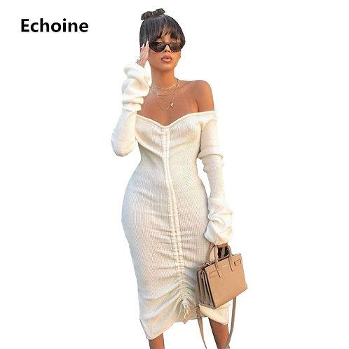 Front Drawstring Sexy Bandage Dress