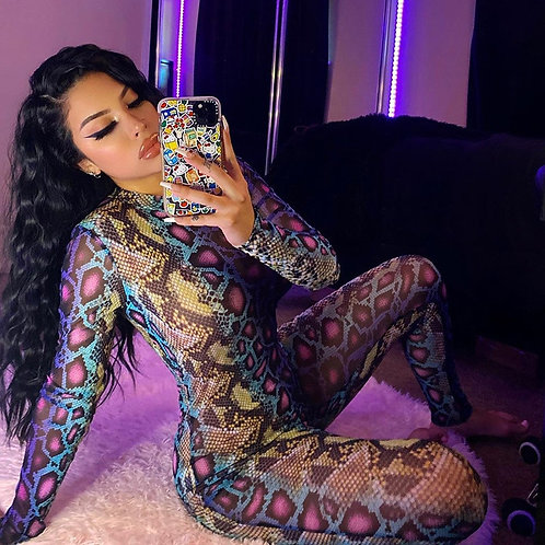2020 Sexy Women Jumpsuit Serpentine Print O-Neck Long Sleeve Jumpsuit