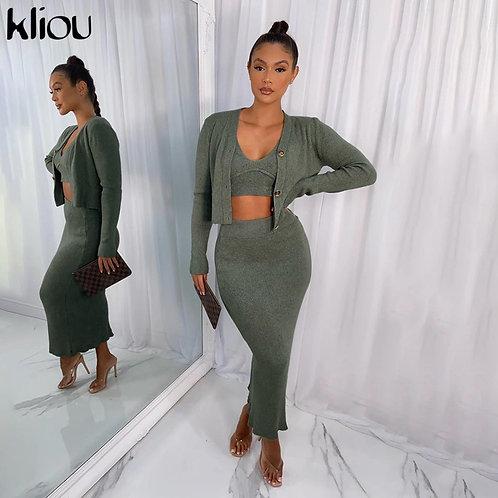Kliou Ribbed Knitted  Cardigan Camisole Maxi Dress Three Piece Set