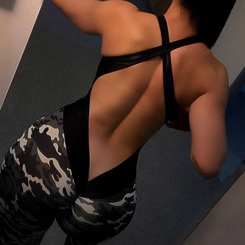 GXQIL Camo Jumpsuit for Fitness Yoga Workout for Women