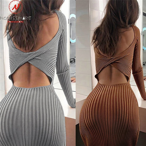 Backless Long Sleeve Solid Color Lady Autumn Slim Party Dress