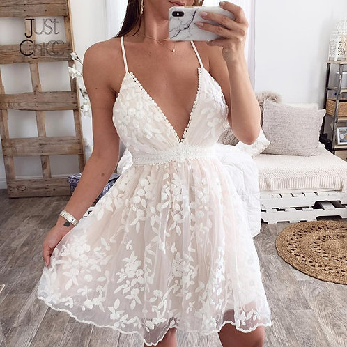 Summer 2021 Mesh Tulle Mini White Floral Lace Dress
