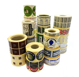 Rolls of sticky labels