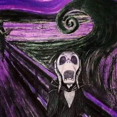 """Parodie de la célèbre toile """"Le Cri"""" d'Edvard Munch dont s'est inspiré Burton pour la plupart de ses personnages, particulièrement pour ceux de """"l'Etrange Noël de Monsieur Jack""""."""