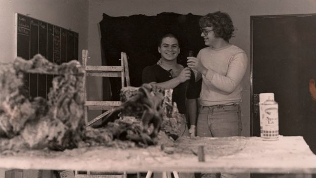 Mariano Aparicio (à gauche) et Guillermo Del Toro (à droite), en pleine ébullition créatrice...