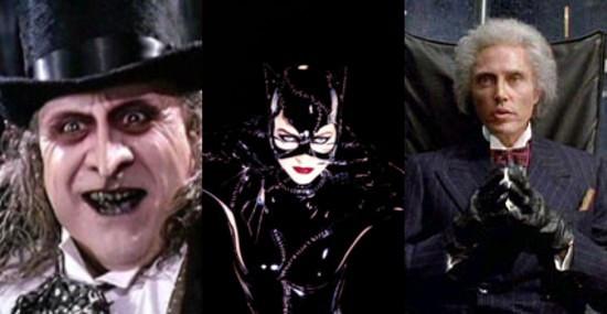 Trois Monstres... de gauche à droite : le Pingouin, Catwoman et Max Schreck.