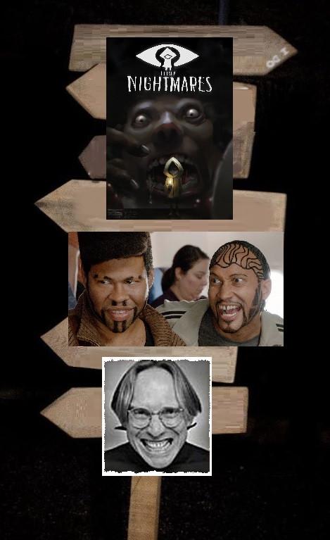 """De haut en bas : une affiche du jeu vidéo """"Little Nightmares"""", une photographie de Jordan Peele et Keegan-Michael Key pour """"Wendell and Wild"""", et un portrait d'Henry Selick en pleine transe créative..."""