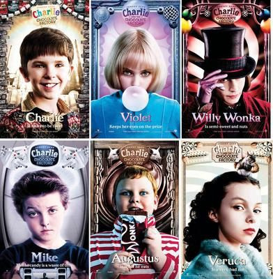Mosaïque Chocolatée... Ou plutôt, pour être précis, de gauche à droite et de haut en bas : Charlie Bucket (Freddie Highmore), Violet Beauregard (AnnaSophia Robb), Johnny Depp (William Wonka), Mike Teavee (Jordan Fry), Augustus Gloop (Philip Wiegratz) et Veruca Salt (Julia Winter).