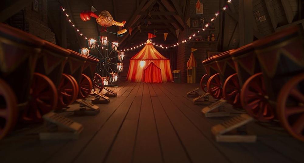 """Grenier du Forain Fou dans """"Coraline"""" ! Vous croyez voir des guirlandes, des câbles de lampions enflammés et des banderoles d'artifices ? Et si, là encore, ce n'était que des filins de toiles d'araignée sournoisement déguisés ? On n'attrape pas les papillons sans lumière !"""