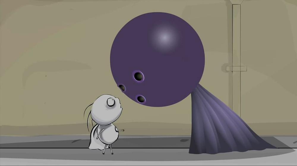 """Stainboy face à Bowling Ball Head, nés pour le mouvement grâce à """"Flinch Studio""""."""