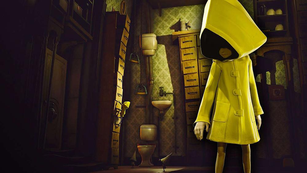 """Outre l'imperméable jaune et le papier peint, on reconnaît les perspectives bancales et anguleuses, déjà présentes dans l'esthétique sombre de """"Coraline""""... Ou même : """"déjà présentes dans l'Expressionnisme Allemand"""" ! Enfin... Pour ce qui est de l'imperméable jaune, j'en suis moins convaincu... Pour le """"Giallo"""", peut-être ? Ca reste dans le registre """"horreur""""..."""