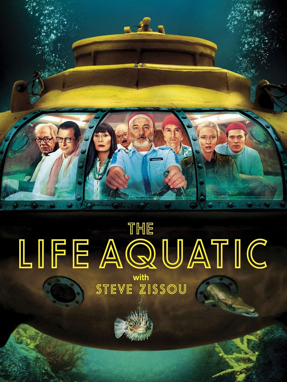 """Affiche du quatrième film de Wes Anderson : """"La Vie Aquatique"""". Jules Verne, nous voici !"""