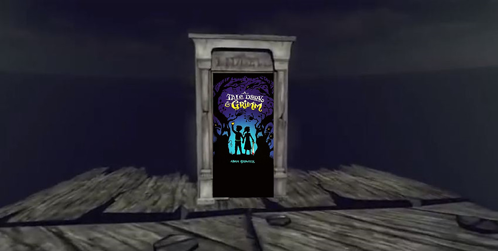 """Carcasse de la porte """"A Tale Dark and Grimm"""". Bon, je vais vous donner un second indice : essayez donc de déchiffrer l'adresse de cet huis... Quel nom est indiqué, dans la cendre du bois ?"""