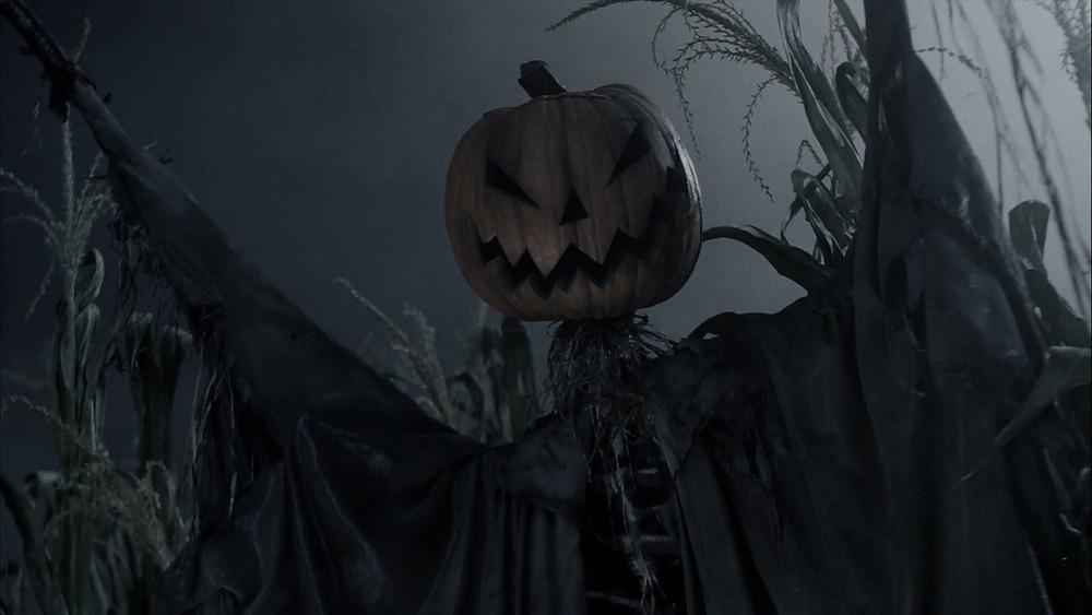 """L'épouvantail que l'on trouve dans l'incipit de """"Sleepy Hollow"""" pose le genre et le thème du film : """"il y aura des revenants dignes d'Halloween"""" et """"les têtes ne seront pas toujours bien accordées avec leur corps""""... Egalement, cela semble être le reflet d'une autre image à venir, cette fois à la toute fin du film (c'est bien l'opposé !), quand le Cavalier sans Tête récupérera son crâne dont il se couronnera : esthétiquement, la tête ne va toujours pas avec le reste du corps, bien en armure... En plus, Tim Burton se permet un hommage à Jack, le squelette de son précédent film (et Tim Burton adore se rendre hommage par de subtils clins d'oeil) !"""