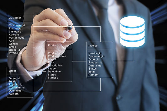 Professional Businessman System Analysis Design And Drawing Database Table With Futuristic Backgroun