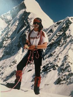 Martin advertising Frusli bar on mountain in Alps