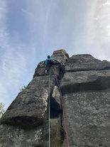 Rock Climbing, Gardom's Edge, Peak District, Derbyshire