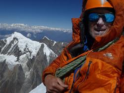 Martin Moran on the summit of Trisul, Himalaya
