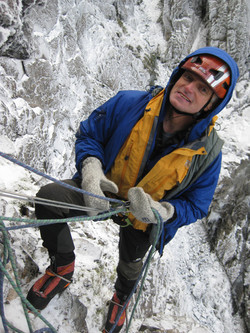 Martin Moran climbing new winter route in Scotland