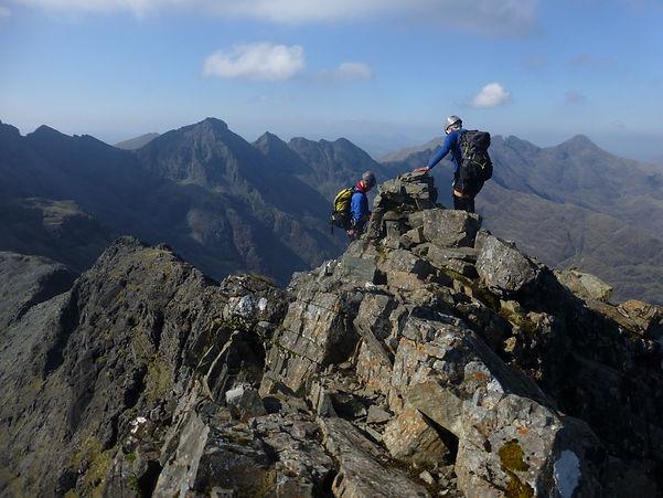 Climbers traversing the Cuillin Ridg, Isle of Skye