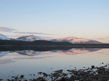 Reflections on Loch Morlich, CairngormNational Park, Scotland