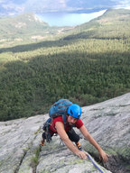 Multi pitch climbing in Norway
