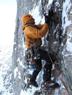 Martin. Moran mixed ice climbing in Scotland