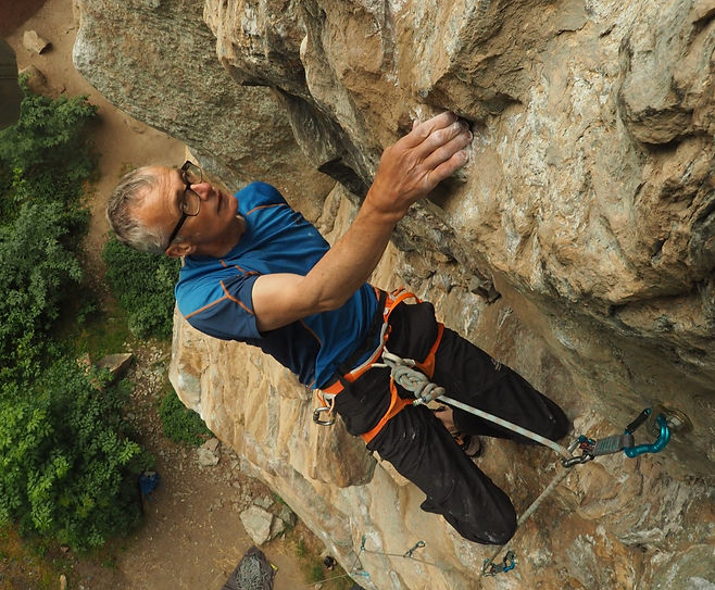 Martin Moran rock climbing