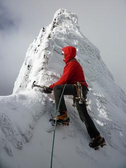 Martin climbing In Pinn in winter