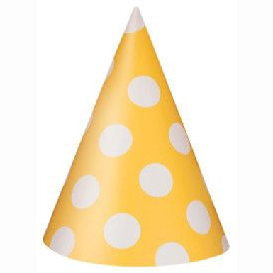 Hat Party Dots Yellow 8Ct