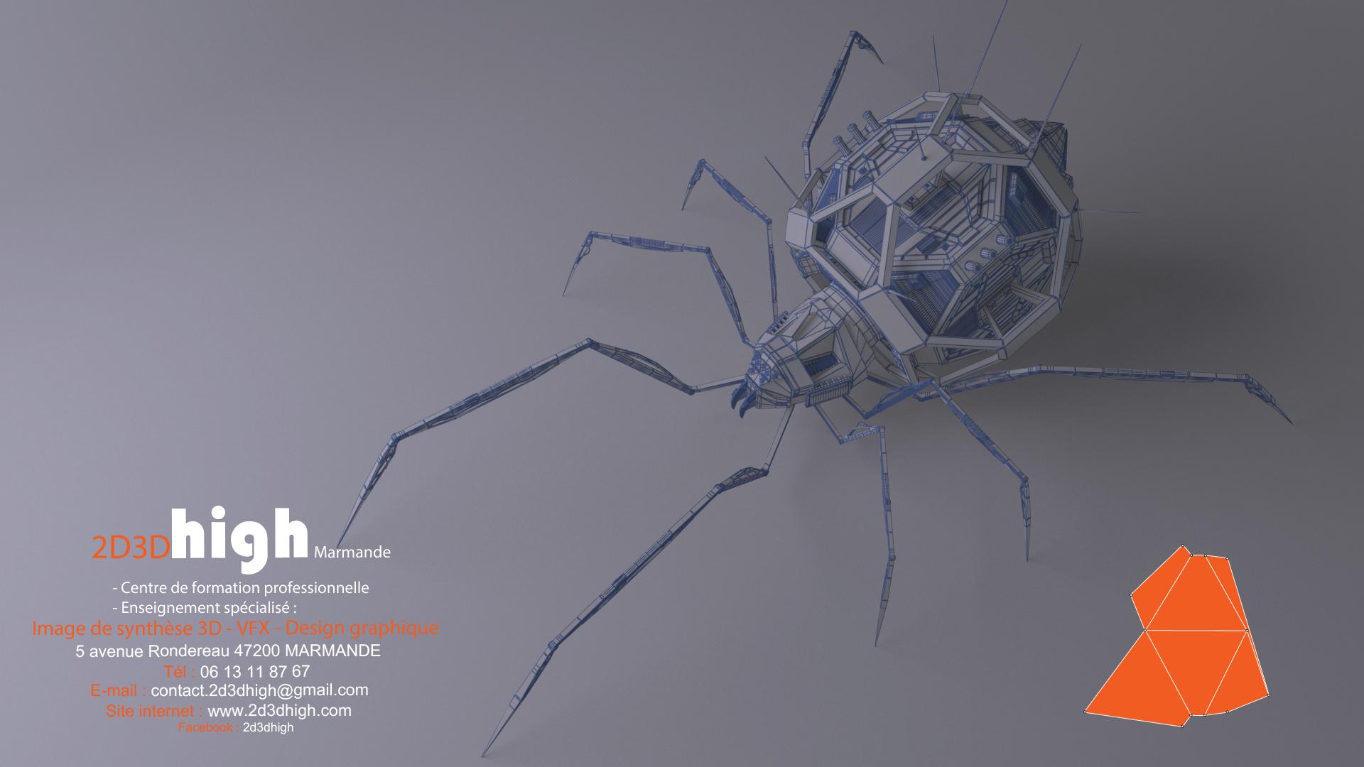 mecha spider wireframe