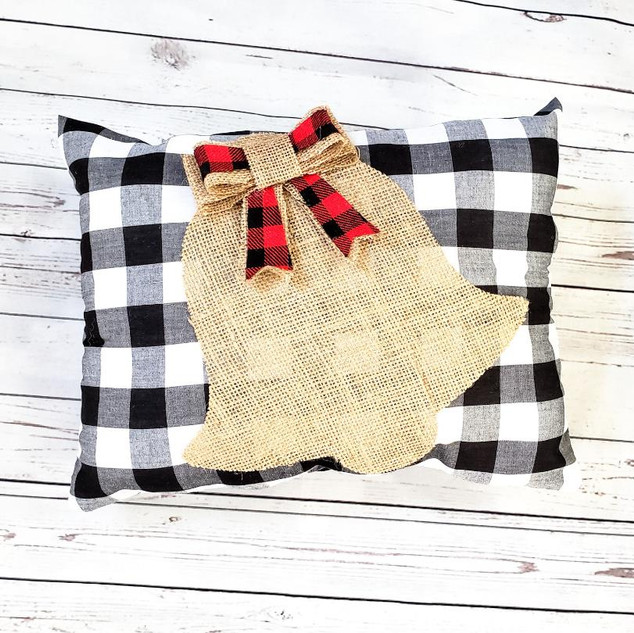 Buffalo Plaid Christmas Bell Pillow