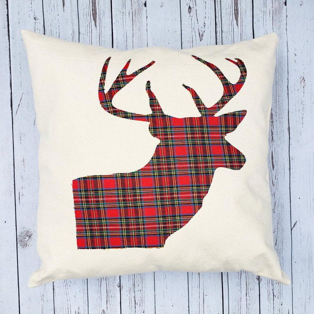 Red Plaid Reindeer Pillow