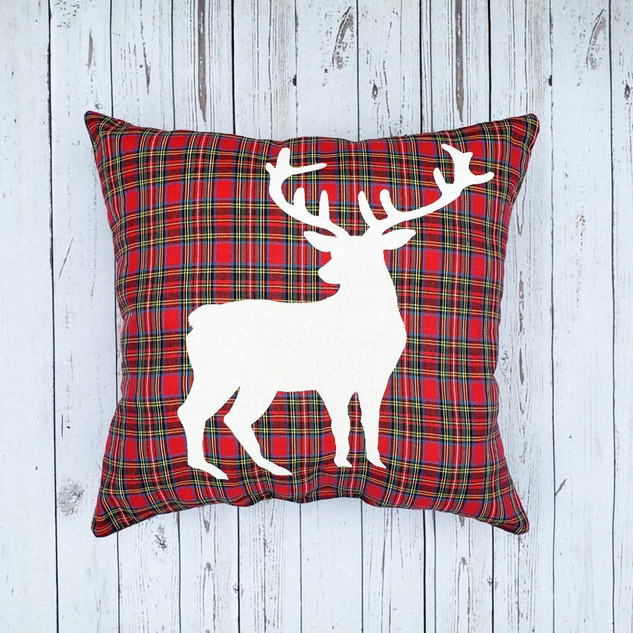 Reindeer Plaid Pillow