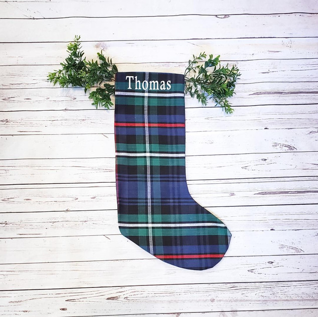 No Cuff Plaid Christmas Stocking