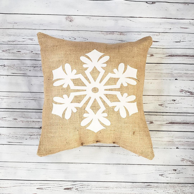 Snowflake Burlap Christmas Pillow