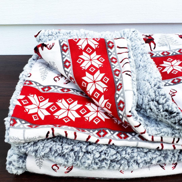Reindeer and Gray Sherpa Blanket