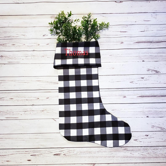 Black and White Buffalo Plaid Stocking