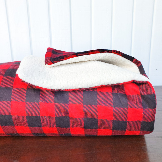 Red Buffalo Plaid and Sherpa Blanket
