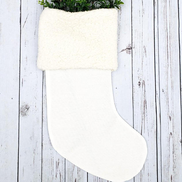 Classic White Sherpa Christmas Stocking