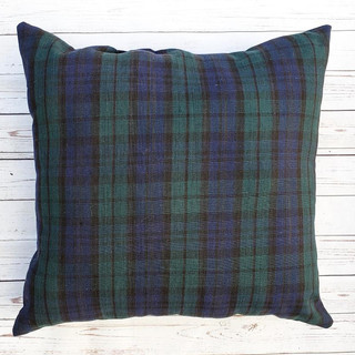 Navy and Green Plaid Pillow