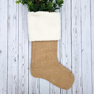 Extra Long Sherpa Cuff Stocking on Burlap